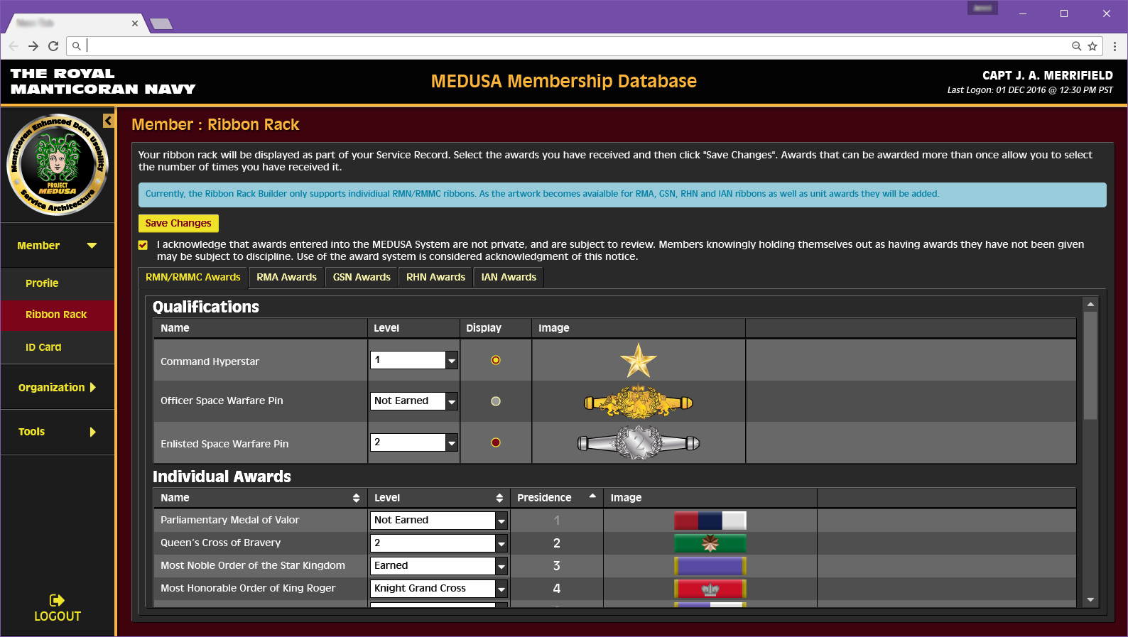 Member Ribon Rack Configuration Page Concept for Medusa Web Application