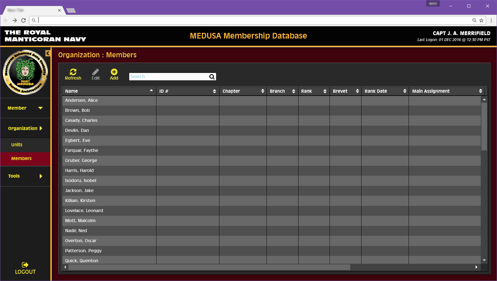 Organization Members Page Concept for Medusa Web Application